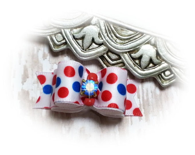 USA Dog Bow, 4th of July Dog Bow, Pet Hair Bow, Fun USA Dots, Grooming Bow, Small Dog Bow, Topknot Bow, Bows for Dogs, Dog Hair Bow