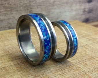 Wedding Rings, Titanium Rings, Meteorite Rings, Handmade Ring, Wedding Band Set, Turquoise Rings, Lapis Rings, His and Hers Rings