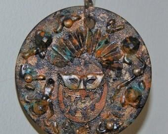 Halloween Jack O lantern Ornie Pumpkin Altered Art Assemblage Found Object Decoration Steampunk