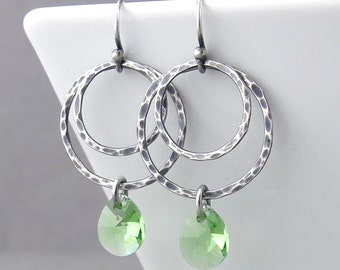Silver Hoop Earrings Peridot Crystal Earrings Sterling Silver Earrings Silver Jewelry Green Earrings Rustic Jewelry Gift for Her - Ashley