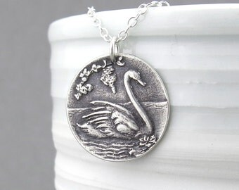 Swan Necklace Sterling Silver Necklace Pendant Bird Jewelry Rustic Jewelry Swan Pendant Unique Handmade Jewelry Gift for Women