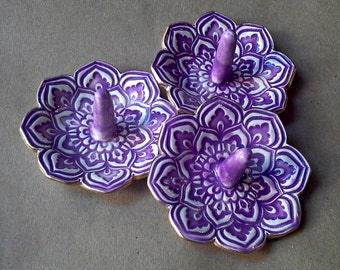 SALE  THREE Ceramic Lotus Ring Holder Bowls Purple edged in gold
