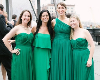 Emerald Green Custom Made Chiffon Bridesmaid Dress - Strapless Sweetheart Neckline Ruched bodice Zipper Back JM013