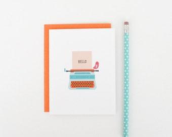 Hello Typewriter Greeting Card