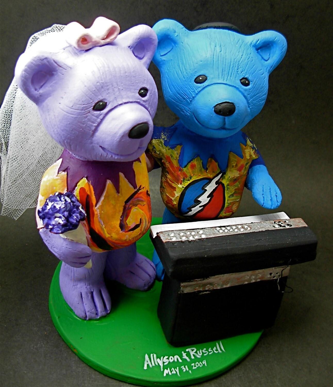 Tie Dye Hippie Bears Wedding Cake Topper Custom Made Grateful