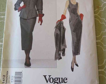 Vintage Vogue 1412 Karl Lagerfeld Misses Dress and Jacket Sewing Pattern size 8 10 12 UNCUT