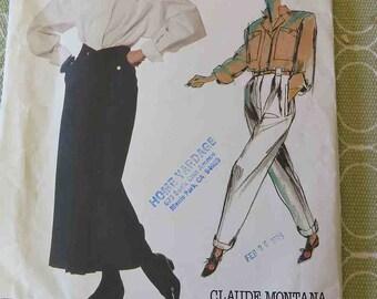 Vintage 80s Vogue Individualist Claude Montanta 1492 High Waist Skirt, Pants and Shirt Sewing Pattern size 12 B 34 UNCUT