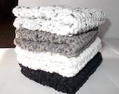 Crochet Dishcloth/ Washcloth - Handmade Wash Rag -Set of 4 Kitchen Dish Cloths-Extra large size-Blacks and Whites Color