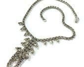Signed Rhinestone Necklace / Vintage 1960s Clear Rhinestone Choker by Kramer