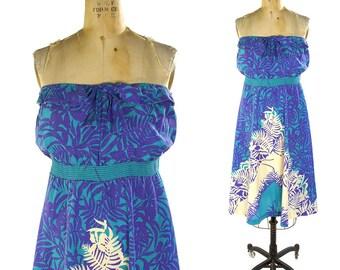 70s Strapless Hawaiian Dress / Vintage Cotton Novelty Print Sundress / A-Line / Knee Length / Tropical Print Boho Dress by Liberty House