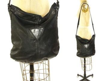 80s Slouchy Leather Purse / Vintage 1980s SOFT Black Leather Shoulder Bag by Stone Mountain / Rocker Boho Minimalist Punk Avant Garde Hobo