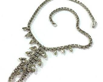 Signed Rhinestone Necklace / Vintage 1960s Clear Rhinestone Choker by Kramer