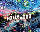 van Gogh Never Saw Hollywood - Art Giclee print reproduction by Aja 8x8, 10x10, 12x12, 20x20, and 24x24 inches choose your size