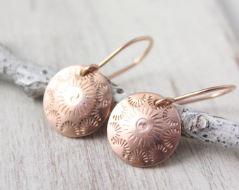 Rose Gold Stamped Disc Earrings