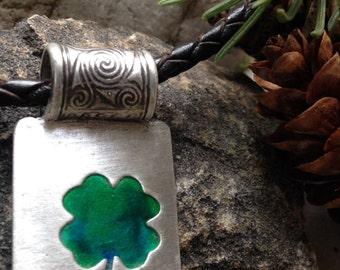 Shamrock Clover with Glass Enamel Pendant, Fine Silver and Connemara Marble, Shamrock Clover Jewelry, Irish Celtic Jewelry, Necklace