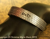 SALE Gifts for MOM knitters... Grey/Black boho gypsy smashed aluminum knitting needle Bangle for knit chicks - Just KNIT it!!