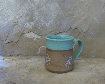 Mug Cup - Handmade Stoneware Ceramic Pottery - Turquoise - Dandelion - 12 ounce