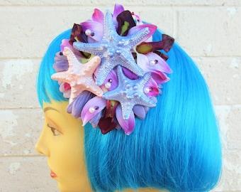 Starfish Mermaid Hair Clip, Pinup Mermaid Hair Flower, Purple Starfish Hair Clip