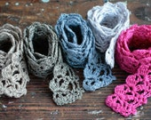 Hand Crocheted Linen Edging, Lace Trims
