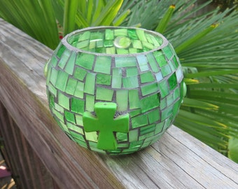 Candle Holder Large Stained Glass Mosaic Vase