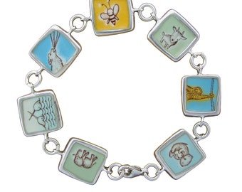 "Enamel and Sterling Silver ""Friends with Animals"" Bracelet"