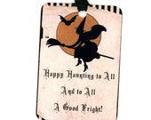 Halloween Tags , Vintage Halloween , Vintage Flying Witch , Happy Haunting , Rustic Halloween , Bat , Black and Orange , Halloween Fright