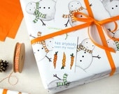 Christmas Snowman Wrapping Paper Set. Festive Gift Wrap. Quirky Eco Friendly Paper. Children's Christmas Wrap.