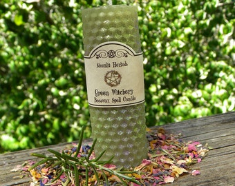Green Witchery Beeswax Spell Candle - Faerie Sight, Hedgecraft, Garden Blessing, Earth Magick, Growth, Wisdom, Working with Plant Spirits