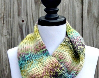 Double Knit Circle Scarf Womens Scarf - Watercolors Pastel Scarf - Cowl Scarf Womens Accessories Spring Fashion - READY TO SHIP