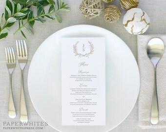 Laurel Wreath Wedding Menus, Monogram Wedding Menu Cards, Wreath Wedding Menus, Rehearsal Dinner Menu Cards, Printed Wedding Menus