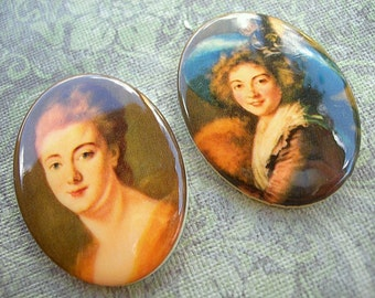 Vintage Cabochons WOMEN Portraits lot of 2 Paintings of Ladies 20mm x 30mm
