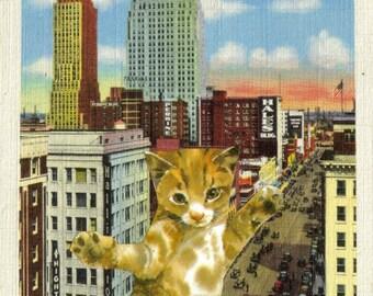 Original Cat Art Kitty Cat Artwork Paper Collage Fun Cat Illustration Oklahoma Postcard Gift for Cat Lover