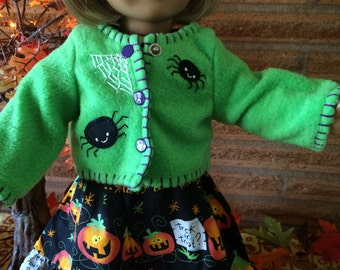 18 Inch Doll clothes - Bright Green Spiders Fleece Jacket - For Halloween