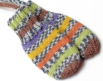 Multicolor Stripe Thumbless Baby Mittens. No Thumb Corded Baby Mitts. Infant Hand Warmers. Unisex Striped Winter Mittens With Coat String