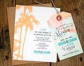 Mexico Save the Date - Map Luggage Tag with Card Backing - Cabo San Lucas, Cancun, Myan Riviera, Mexico Location - Design Fee