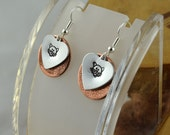 CAT critter love hand stamped layered copper and aluminum mixed metal french hook earrings