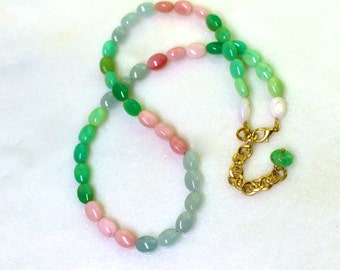 Picnic...Aquamarine, Pink Opal, Chrysoprase Simple Layering Necklace...