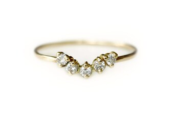 Five Diamond Curved Band - Diamond Wedding Band - Diamond Stacking Ring