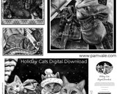 Holiday Cats Digital Download Grayscale Coloring Sheets, Print Your Own