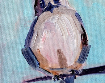 Little Bird Painting, Original Oil, 4x6 Canvas, Blue Gray White, Small Wildlife Art, Wall Decor, Feathered Creature, Tiny Animal