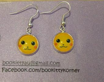 Pokemon Pikachu Silvertone Dangle Earrings 12mm