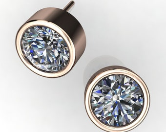 2 carat NEO moissanite earrings, 14k gold bezel earrings