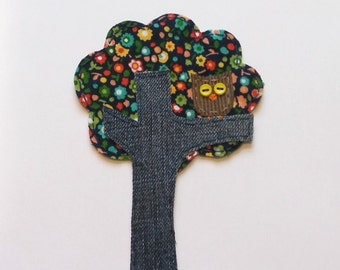 Owl Patch,Tree Applique, Owl in Tree Patch,Owl Tree, Scrapbook Tree,Tree Embellishment, Fabric Tree, Owl Applique, Fabric Owl