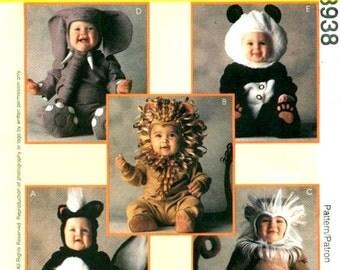 McCall's 8938 TOM ARMA Toddler Critter Costumes Lion Skunk Elephant Panda Monkey Size 1