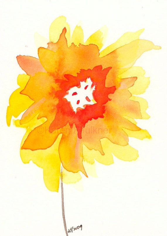 "Watercolor art print of yellow and orange sunflower: ""Sunset"""
