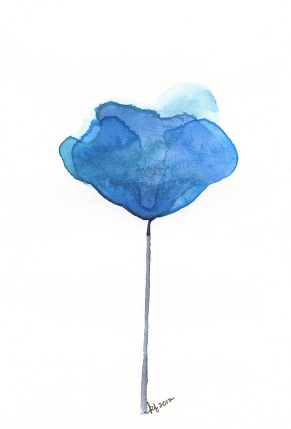 "Watercolor flower art print: ""Aegean Blue Flower"""