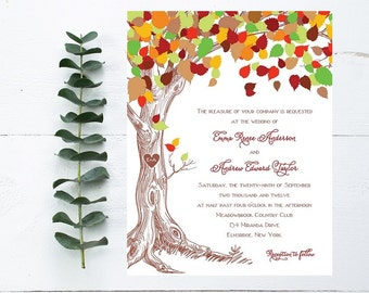 Tree Wedding Invitation - Carved Initials, Outdoor, Fall Wedding Invitation - Rustic Wedding Invitation - Woodland