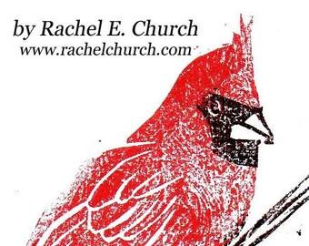 cardinal - limited edition woodblock print