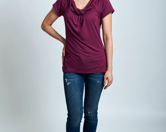 Ember top - soft short sleeve shirt with weaved collars