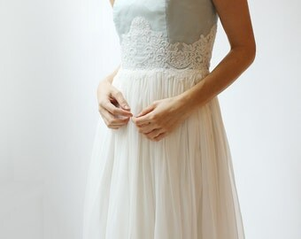 Slate Blue and Ivory--Silk and Lace Gown--Sample Sale--Size 2